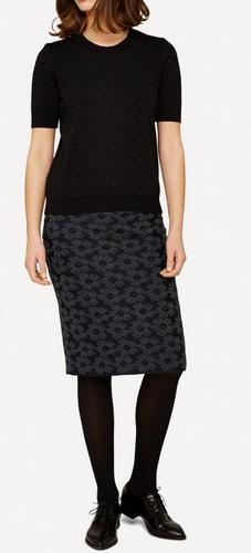 Oleana Bloss Knitted Skirt, 352O Black