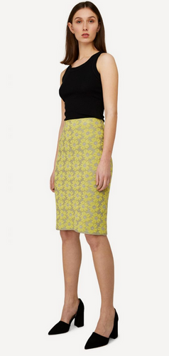 Oleana Bloss Knitted Skirt, 352DY Yellow/Gray