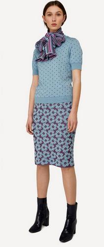 Oleana Bloss Knitted Skirt, 352KF Light Blue/Plum