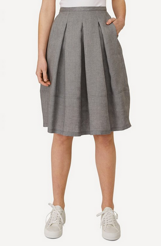 Emma Oleana Short 100% Linen Skirt, 88D Grey