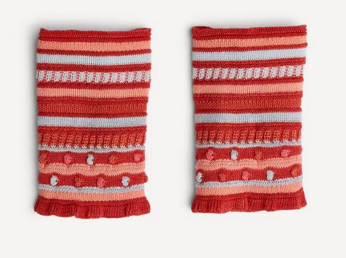 Oleana Popcorn and Stripe Wristlet, 347AV Pink/Coral