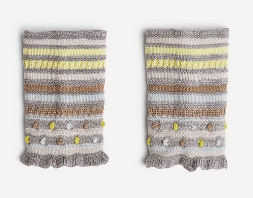 Oleana Popcorn and Stripe Wristlet, 347DY Grey/Yellow