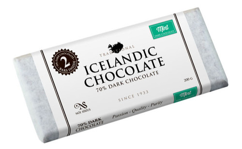 Nói Síríus Icelandic Chocolate - 70% Dark Chocolate with Mint, 200g (25110)
