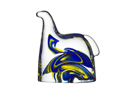 Kosta Boda Glass Swedish Horse, Blue & Yellow (7015580)