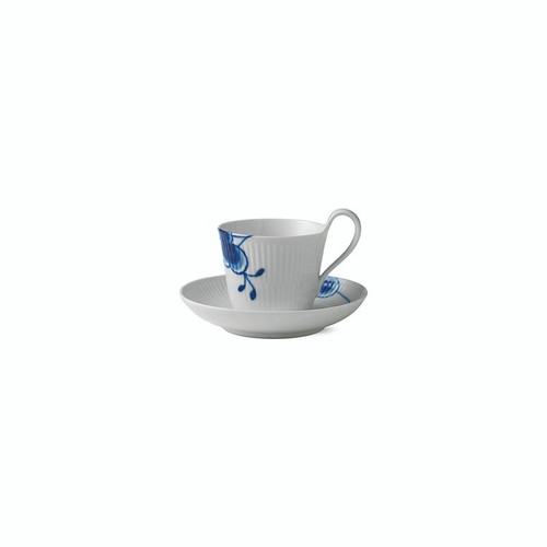 Royal Copenhagen Blue Fluted Mega - High Handled Cup and Saucer #2, 8.5 oz. (1016909)