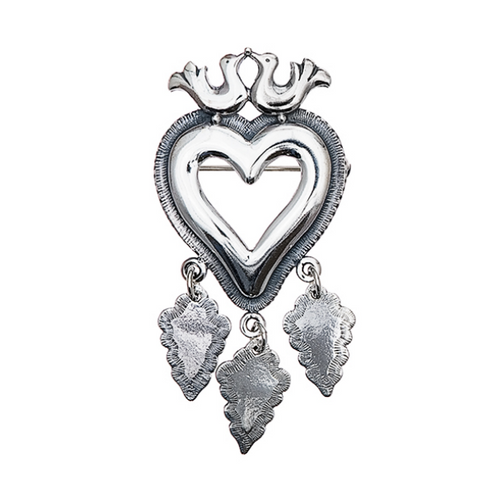 Huldre of Norway - Little Bird's Eye Heart Silver Brooch (30093)