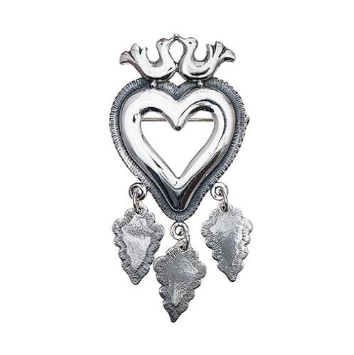 Huldre of Norway - Little Bird's Eye Heart Silver Brooch (30093)