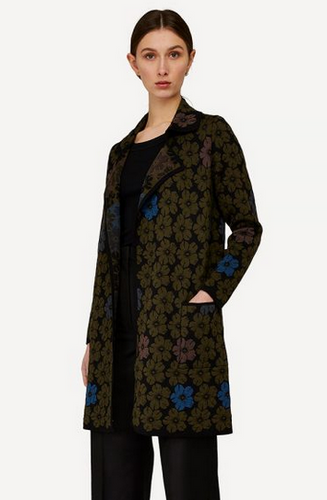 Oleana Bloss Long Cardigan, 358P Olive