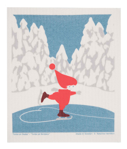 Swedish Christmas Dishcloth - Skating Tomte