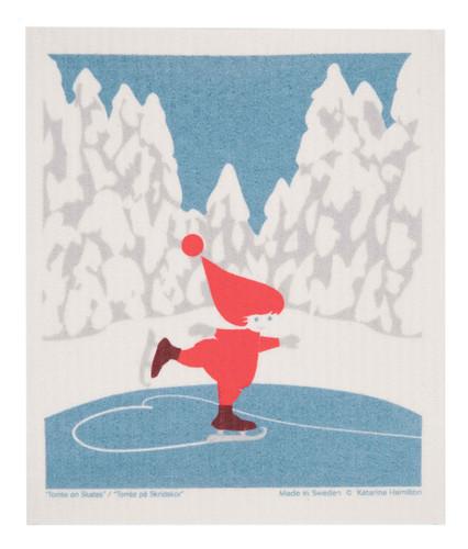 Swedish Christmas Dishcloth - KH Skating Tomte