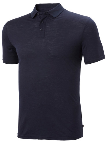Helly Hansen Merino Light SS Polo, Men's - Navy, 49320-597