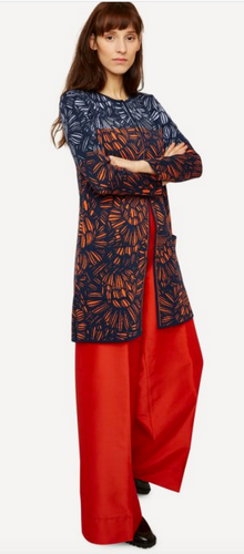 Oleana Cardigan, Pencil Trace Long Jacket, 527-WE Orange Ball-Pen Scribble