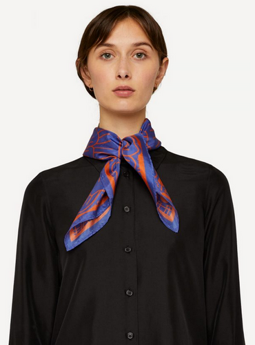 Oleana Romantic and Square Scarf, 519-E Blue Carrot