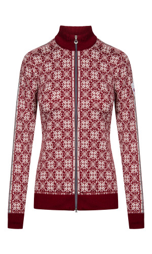 Dale of Norway Frida Cardigan, Ladies - Ruby Red/Off white/Light Charcoal/Smoke, 82931-V