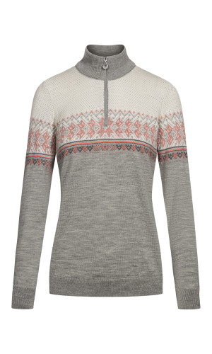 Dale of Norway Hovden Sweater, Ladies - Light Charcoal/Coral/Dark Charcoal/Off White-93451-E