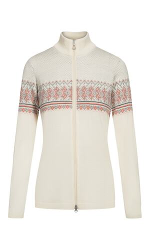 Dale of Norway Hovden Cardigan, Ladies - Off White/Coral/Light Charcoal/Dark Charcoal-83201-P