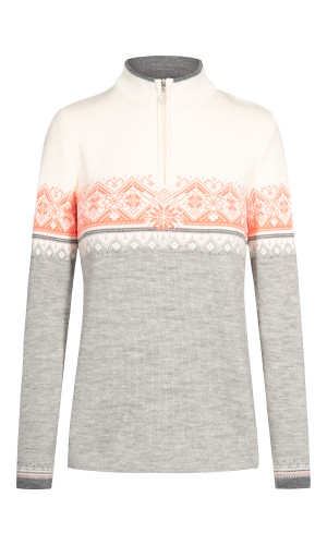 Dale of Norway Moritz Pullover, Ladies - Light Charcoal/Off-White/Smoke/Coral, 91461-E