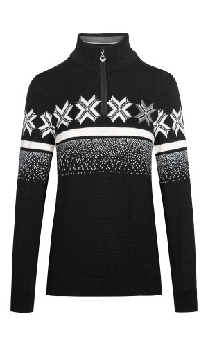Dale of Norway Olympic Passion Pullover, Ladies - Black/Off White/Smoke, 93351-F