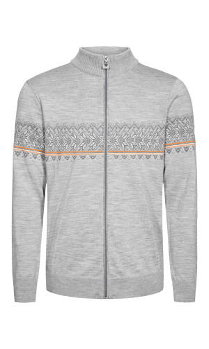 Dale of Norway Hovden Cardigan, Mens - Light Charcoal/Off White/Smoke/Orange Peel, 83191-T