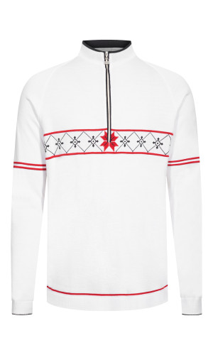 Dale of Norway Tokyo Pullover, Mens- White/Raspberry/Navy, 94231-A