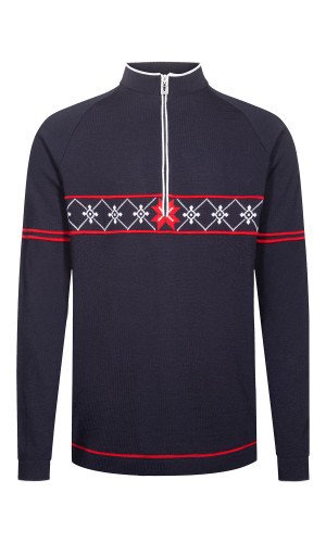 Dale of Norway Tokyo Pullover, Mens- Navy/Raspberry/White, 94231-C