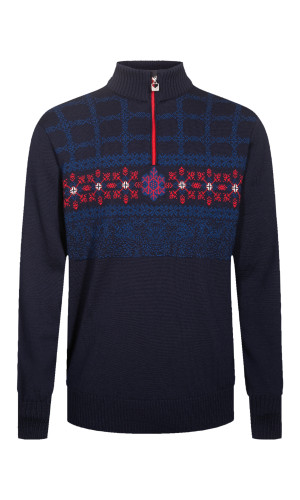 Dale of Norway Oberstdorf Pullover, Mens - Navy/Atlantic Mel/Raspberry/White, 94291-C