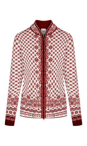 Dale of Norway Solfrid Cardigan, Ladies - Ruby Melange/Off White/Light Charcoal/Red Rose, 83341-B