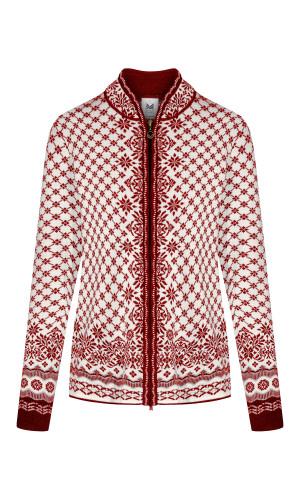 Dale of Norway Solfrid Cardigan, Ladies - Ruby Melange/Off White/Light Charcoal/Red Rose, 83341-B