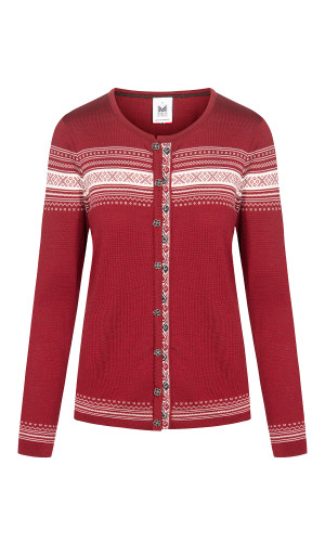 Dale of Norway Hedvig Cardigan, Ladies - Ruby Mel/Off White/Dark Charcoal, 83741-V (83741-V)