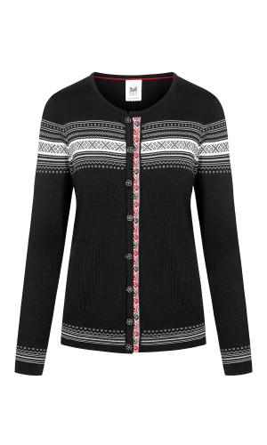 Dale of Norway Hedvig Cardigan, Ladies - Black/Off White/Ruby Melange, 83741-F (83741-F)