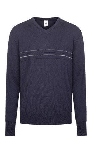 Dale of Norway Syv Fjell V Neck Sweater, Mens - Navy/Off White, 94171-C (94171-C)