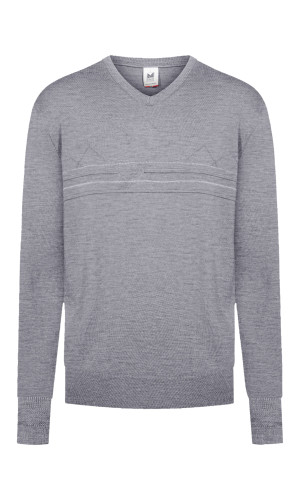 Dale of Norway Syv Fjell V Neck Sweater, Mens - Smoke/Dark Charcoal, 94171-E (94171-E)