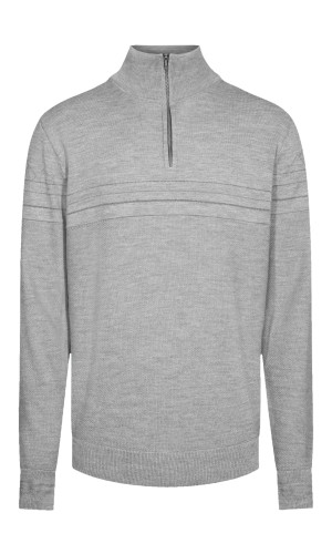 Dale of Norway Syv Fjell Half-Zip Sweater, Mens - Smoke/Dark Charcoal, 94191-E (94191-E)