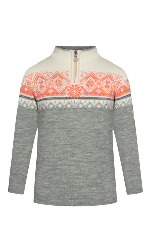 Dale of Norway Moritz Sweater, Childrens - Light Charcoal/Smoke/Off White/Coral, 9150-E (9150-E)