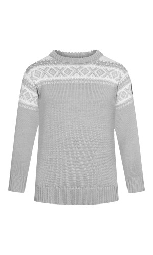 Dale of Norway Cortina Pullover, Childrens - Light Charcoal/Off White, 92991-E