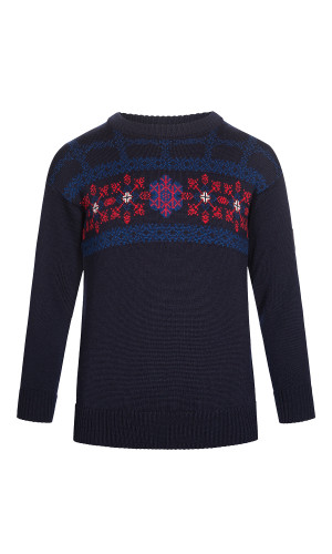 Dale of Norway Oberstdorf Pullover, Childrens - Navy/Atlantic Mel/Raspberry/Off White, 94301-C (94301-C)