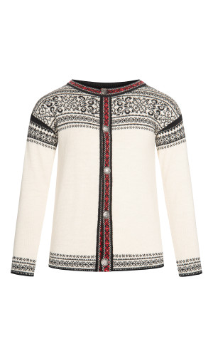 Dale of Norway Wergeland Cardigan, Children's- Off White/Black/Raspberry, 83721-A (83721-A)