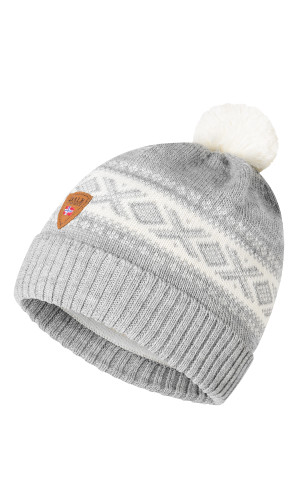 Dale of Norway Cortina Kids Hat 4-8, Light Charcoal/Off White, 43341-E (43341-E)