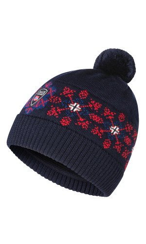 Dale of Norway Oberstdorf Kids Hat 4-8 - Navy/Atlantic Mel/Raspberry/Off White 48761-C (48761-C)
