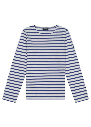 Saint James Minquidame Ladies' Breton Stripe Shirt, Long Sleeve - White/Royal Blue (8114-WRB)
