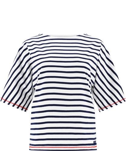 Saint James Lourmarin Dolman-Style Striped Tee, Ladies' - White/Navy (7284-WN)