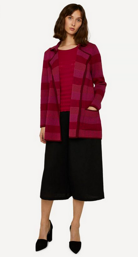 Oleana Long Cardigan, Stripe, 357-R Red (357-R)