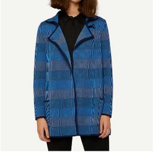 Oleana Long Cardigan, Stripe, 357-F Blue (357-F)