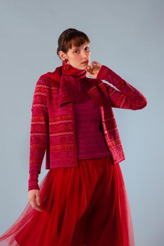 Oleana Granada Mid-Length Cardigan, 362R Red (362R)