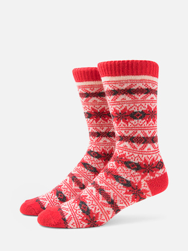 B.ELLA Gia Snowflake Socks, Ladies' One Size - Red (BE0618-03000)
