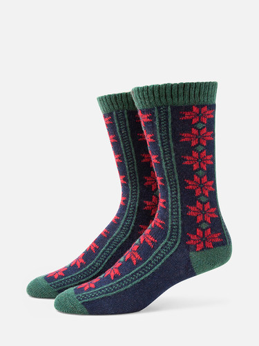 B.ELLA Neve Pointsettia Socks, Ladies' One Size - Navy (BE0475-02030)