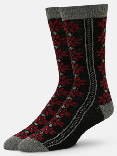 B.ELLA Neve Pointsettia Socks, Ladies' One Size - Grey (BE0475-07030)