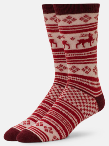 B.ELLA Vixen Reindeer Socks, Ladies' One Size - Black Cherry (BE0483-07085)