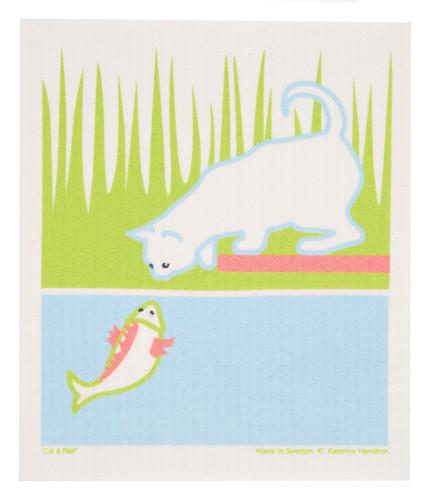Swedish Dishcloth - KH Cat and Fish
