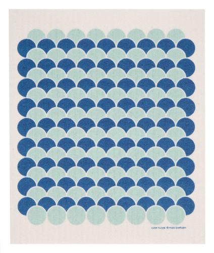 Swedish Drying Mat - Scallops Blue & Aqua